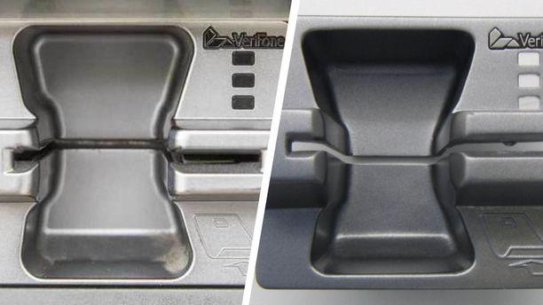 Kuvassa oikea kortinlukija vasemmalla ja väärennetty oikealla. Kortinlukijassa ei kuulu olla korttia kopioivaa nystyrää aukon kohdassa, jota pitkin magneettijuova kulkee koneeseen. Kuvassa oikealla olevassa lukijassa sellainen on.