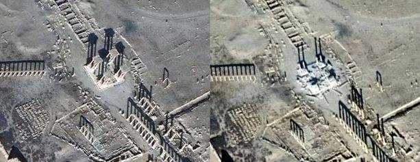 Palmyran tetrapylonin tuho on selvästi havaittavissa satelliittikuvissa. Vasemmalla joulukuun lopulla otettu kuva, jossa pylväät ovat ehjät ja oikealla tammikuun 10. päivä otettu kuva.