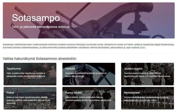 Sotasampo-verkkosovelluksen etusivunäkymä.