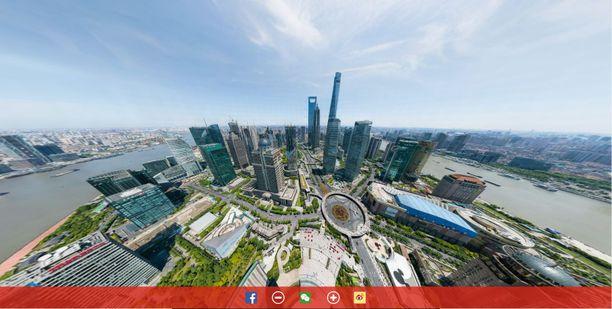 Panoramakuva antaa mahdollisuuden katsoa Shanghaita pilvenpiirtäjät huipulta ja zoomata sieltä aivan maan kamaralle asti.