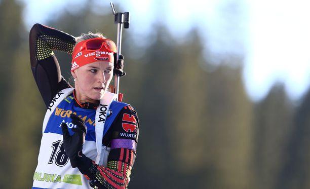 Saksan Denise Herrmann tykitti kanuunahiihdon keskiviikkona Ruotsissa.