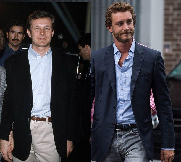 Kuin kaksi marjaa. Pierre Casiraghi käyttää mielellään partaa, isä-Stefano esiintyi aina kasvot ajeltuina.