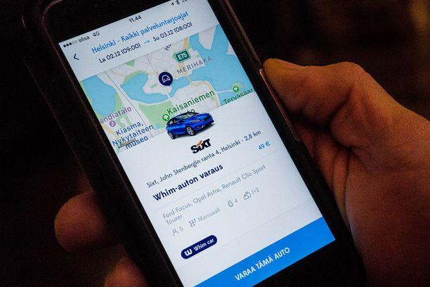 Whim Urban -palvelun kautta voi vuokrata auton taatulla 49 euron vuorokausihinnalla.