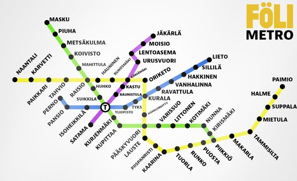 """Turussa julkinen liikenne kulkee Föli-nimellä. Tältä """"metro"""" voisi näyttää Varsinais-Suomessa Googlen inspiroimana. Osa oheisen metrokartan reiteistä näkyy Googlessa edelleen bussipysäkkeinä."""