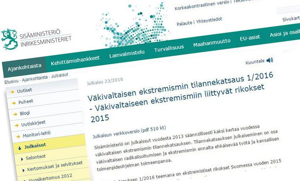 Sisäministeriö julkaisi tilannekatsauksen sivuillaan maanantaina.