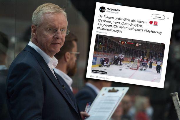 Kari Jalosen valmentaman SC Bernin pelaajia oli osallisena joukkotappelussa Sveitsin jääkiekkoliigassa.
