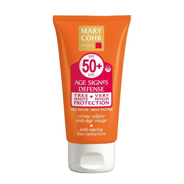 Mary Cohr AGE SIGNeS DEFENCE Anti-ageing Sun Protection Face Cream -voide lupaa suojata ihoa auringolta ja ikääntymisen merkeiltä, mutta tehostaa samalla rusketuksen syntymistä, 50,60 e