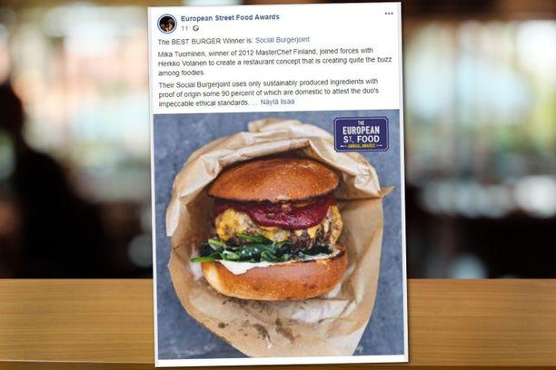 European Street Food Awards -kilpailu kertoo suomalaisburgerin voitosta Facebookissa.