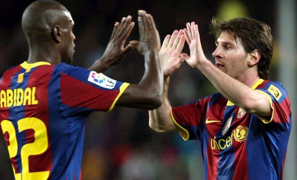 Eric Abidal ja Lionel Messi pelasivat yhdessä Barcelonassa.