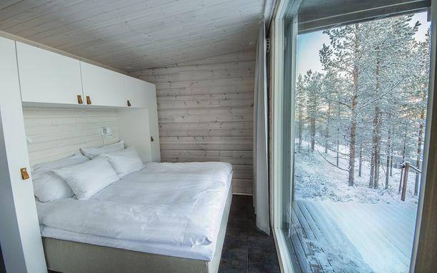 Glass House -mökin makuuhuone.