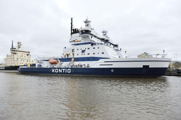 Meripelastuskeskuksen mukaan jäänmurtaja Kontio ei kärsinyt vaurioita törmäyksessä. Kuvituskuva.