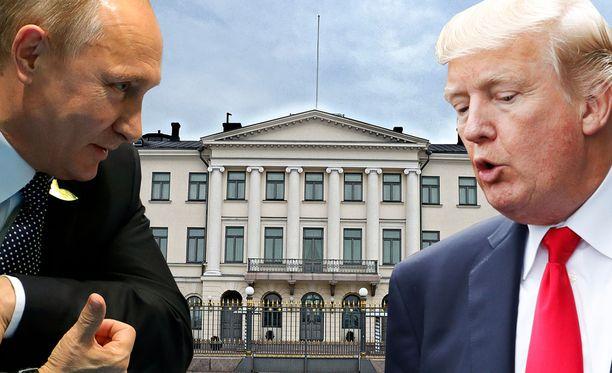 Presidentinlinnassa nähdään arvovaltaisia vieraita. Kuvassa vasemmalla Vladimir Putin ja oikealla Donald Trump.
