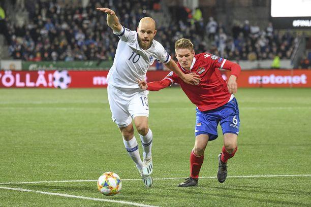 Teemu Pukki kuritti Liechtensteinia kahdella maalilla.