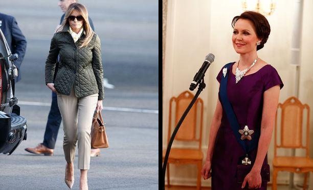 Melania Trumpia ja Jenni Haukiota yhdistää ainakin arvovaltainen asema, eurooppalaisuus ja äitiys.