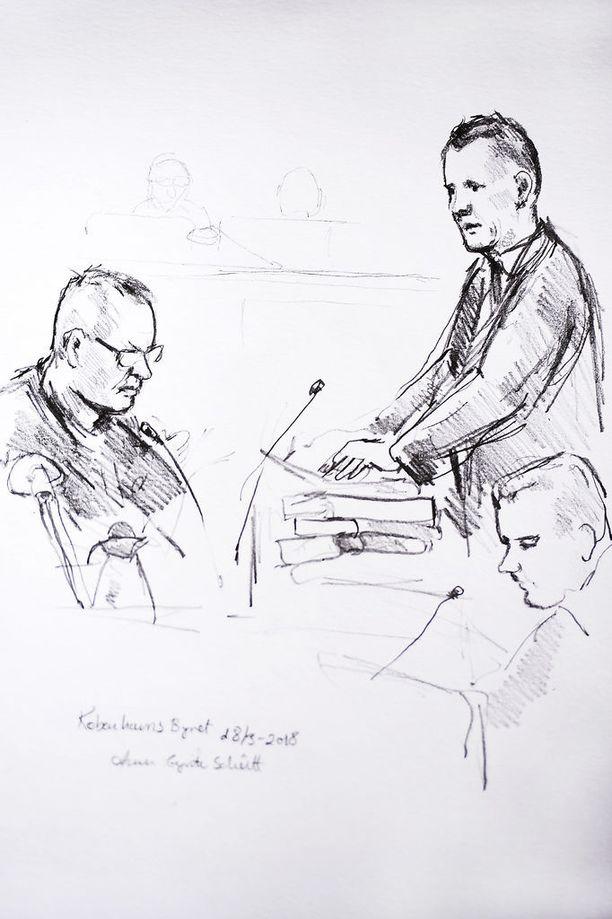 Taiteilijan näkemys oikeudenkäynnistä maaliskuulta. Syyttäjä kuulustelee Madsenia, joka istuu vasemmalla.