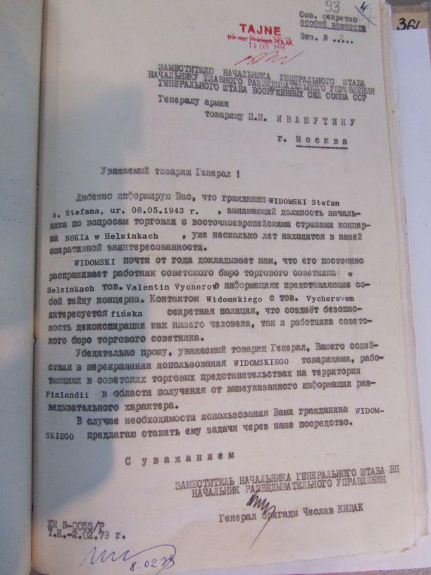 Widomskista tuli Puolan ja Neuvostoliiton korkeiden sotilastiedustelujohtajien välinen asia helmikuussa 1979.