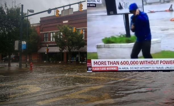 Florence-myrsky oli hurja. Sitä se ei kuitenkaan ollut sinä hetkenä, kun Weather Channelin toimittaja oli tekemässä raporttia paikan päältä.