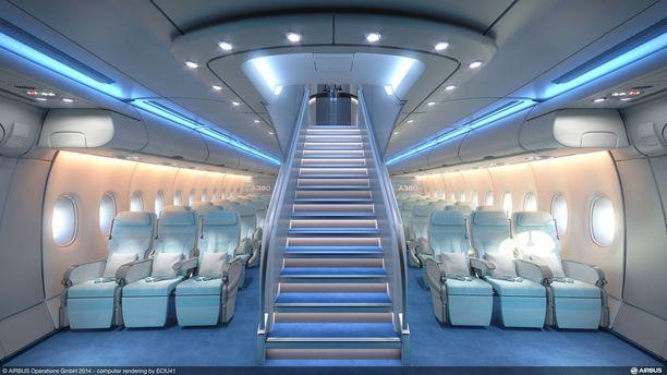 A380 on kaksikerroksinen koko pituudeltaan.