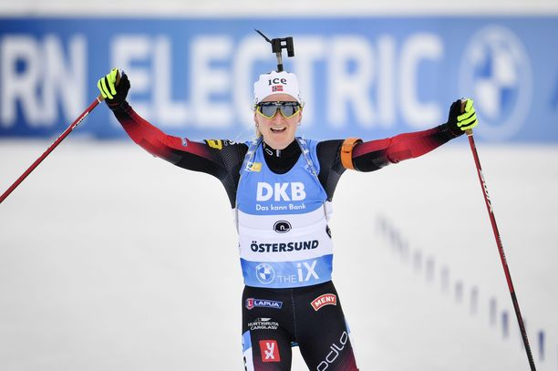 Marte Röiseland oli yhtä hymyä voiton jälkeen.