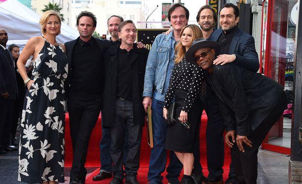 Tähtihetkestä nauttimassa Zoe Bell, Walton Goggins, James Parks, Tim Roth, Quentin Tarantino, Craig Stark, Jennifer Jason Leigh, Demian Bichir ja Samuel L. Jackson