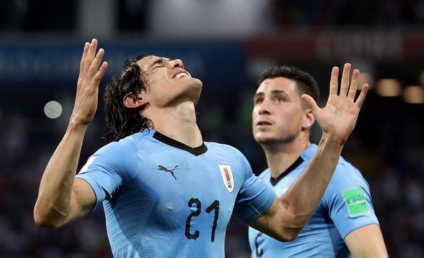 Edinson Cavani oli Uruguayn sankari.
