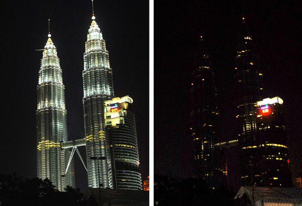 Patronas kaksoistornien valot sammutettiin Kuala Lumpurissa.
