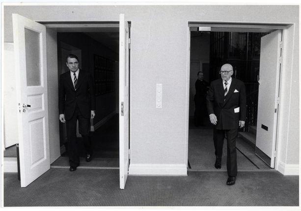 Pääministeri Mauno Koivisto ja presidentti Urho Kekkonen.