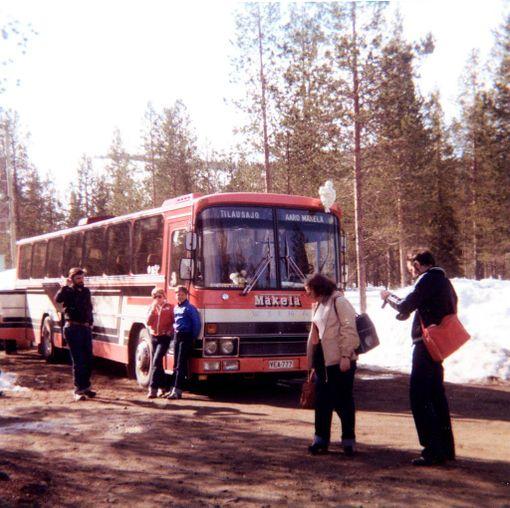 Matka Lappiin taittui tilausbussilla aikana jolloin Kittilän kentälle ei ollut lentoyhteyttä.