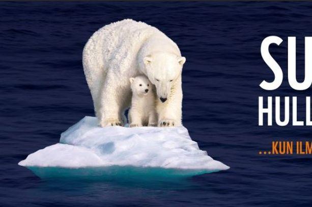 Kuvaa on käsitelty niin, että jääkarhut ovat pienen jäälautan päällä. Alkuperäisessä kuvassa jääkarhujen taustalla on laaja jääalue.