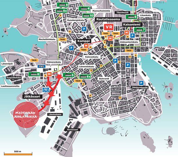 Helsingin parkkipaikat, pankkiautomaatit sekä liikenneyhteydet. (Klikkaa isommaksi)