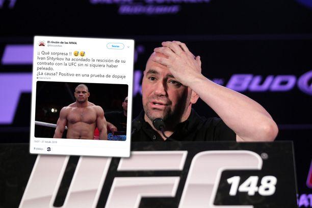 UFC:n pomo Dana White (oikealla) luuli saaneensa riveihinsä venäläisen tyrmäyskoneen. Toisin kävi.