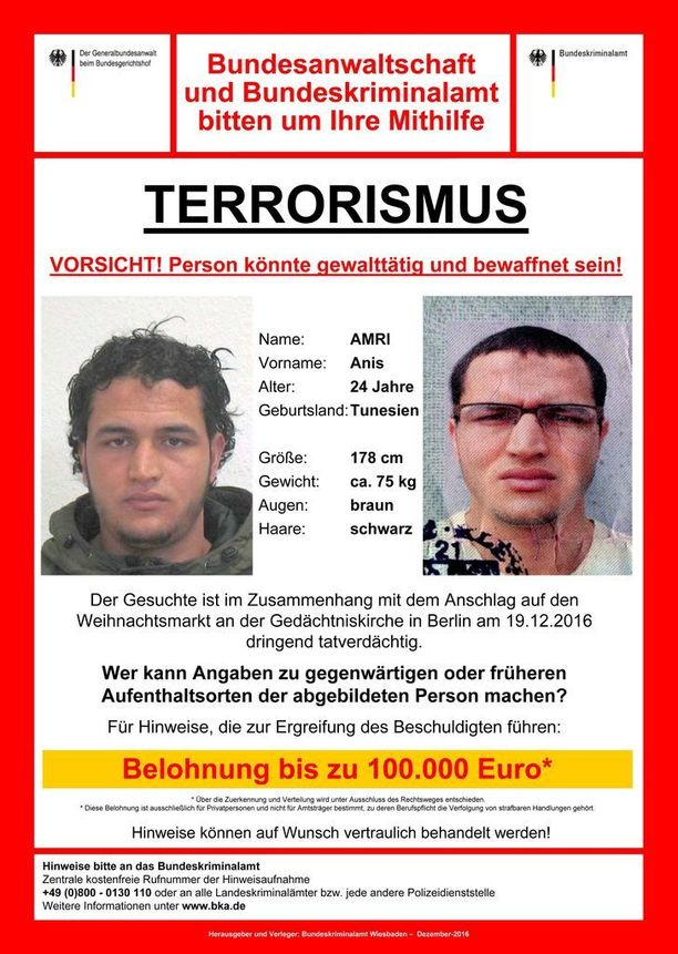 Saksalaisviranomaiset lupaavat Anis Amrin pidätykseen johtavasta vihjeestä jopa 100 000 euron palkkion.