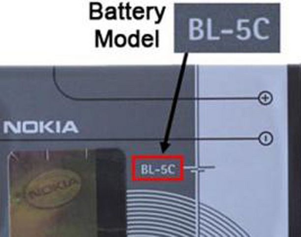 Nokian viallinen akku näyttää tältä.