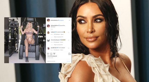 Kim Kardashianin treeniasua ihmetellään avoimesti somessa.