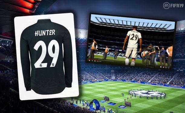 Hunterin pelipaita on myynnissä Real Madridin fanikaupassa.