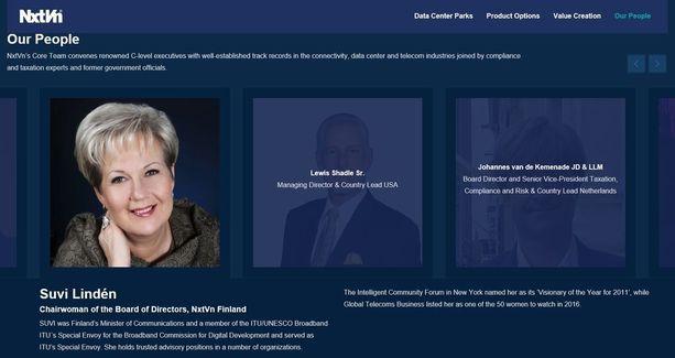Suvi Lindén toimii NxtVn:n Suomen-yhtiöiden hallitusten puheenjohtajana.