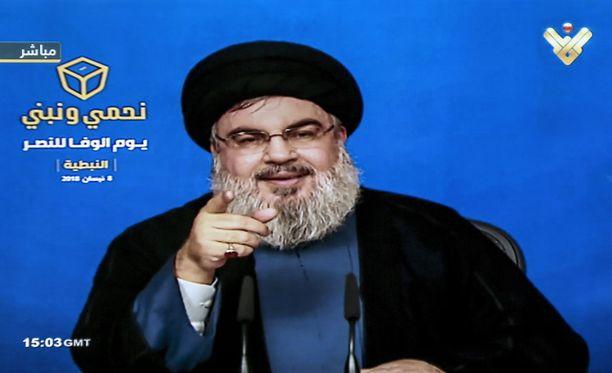 Hizbollahin johtaja Sayed Hassan Nasrallah piti puheen televisiossa huhtikuussa. Hizbollah jatkaa vallankahvassa Libanonissa sunnuntaisten parlamenttivaalien jälkeen.