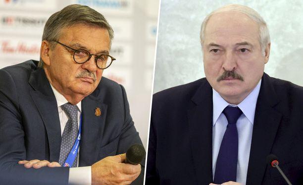 IIHF:n puheenjohtaja Rene Fasel ja Valko-Venäjää itsevaltaisesti hallitseva Aljaksandr Lukašenka ovat MM-kisakeskustelun keskiössä.