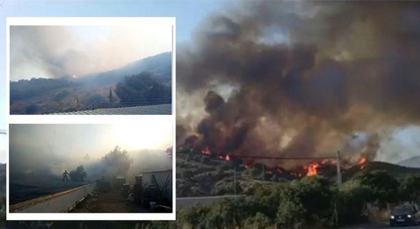 Kuvakaappaukset Mijasin palokunnan Facebook-sivuilta näyttävät, millainen palo Fuengirolan naapurissa riehui eilen.