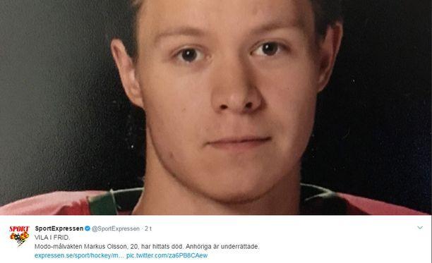 Expressen uutisoi ensimmäisenä Markus Olssonin kuolemasta.