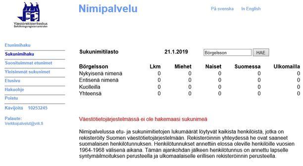 Väestötietojärjestelmässä ei ole ainuttakaan Börgelssonia.
