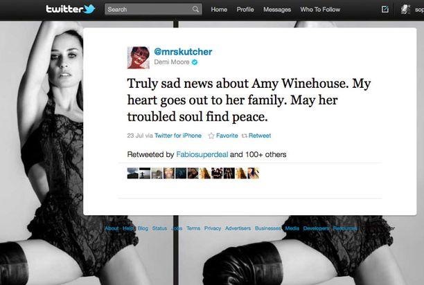 Demi Moore suree Amy Winehousen kuolemaa.