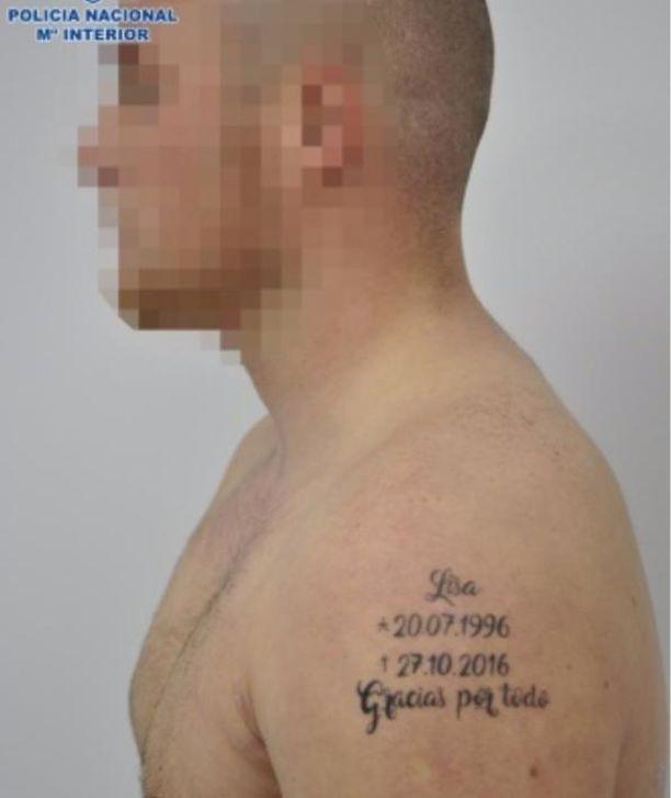 Pidätetty Dominik oli tatuoinut olkapäähänsä tyttöystävänsä tarkan kuolinpäivän.