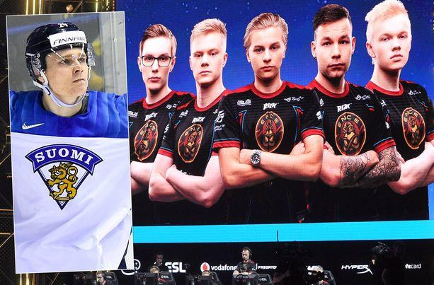 """Kaapo Kakko (vas.) sekä ENCEn Sami """"xseveN"""" Laasanen, Jani """"Aerial"""" Jussila, Aleksi """"Aleksib"""" Virolainen, Aleksi """"allu"""" Jalli ja Jere """"sergej"""" Salo."""