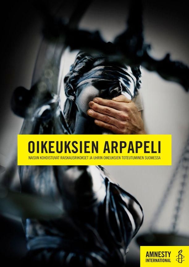 Ihmisoikeusjärjestö Amensty Internationalin mukaan seksuaalisen väkivallan uhrit jäävät Suomessa liian usein vaille tarvitsemaansa apua - ja oikeutta. Kuvassa tuoreen raportin kansi.