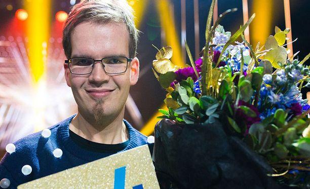 Antton Puonti voitti Talentin soittamalla nahkatrumpettia.