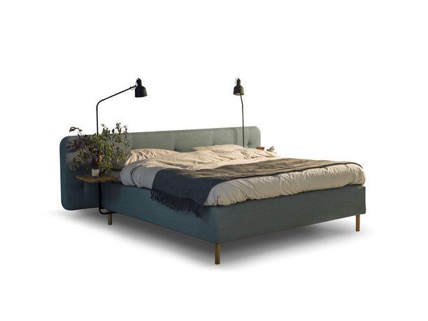 Elegantin ulkomuodon ja värityksen lisäksi tässä sängyssä on erikoista sen verhoilu, joka kattaa koko vuoteen rungon.Norjalainen sänkyvalmistaja Jensen, Ambassador Nordic Line -sänky.