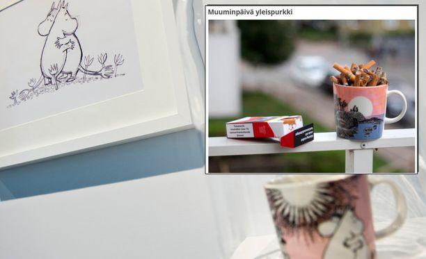 """Sivustolle on ilmestynyt ilmoitus, jossa Muumin päivä -mukia myydään """"yleispurkkina"""" 130 euron hintaan."""