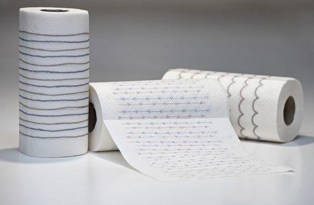 Yhdessä lautasliinarullassa on 56 neliönmuotoista lautasliina-arkkia.