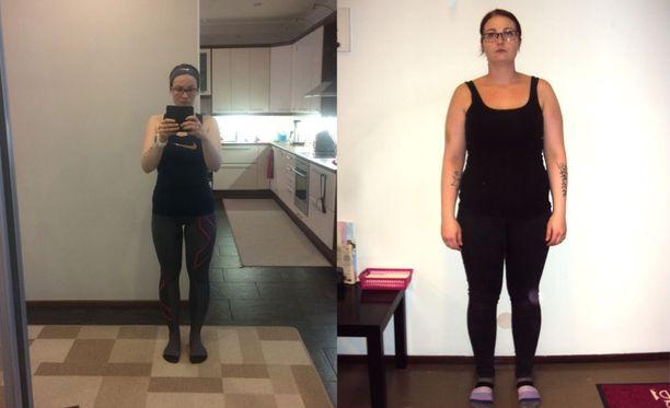 Tammikuussa 2017 Laura painoi vielä 85 kiloa (kuva oikealla). Vappuna puntari näytti reilut 20 vähemmän (kuva vasemmalla).
